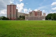 Sikt av allmännyttangodset i Singapore Arkivfoto