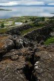 Sikt av Althing område, sydvästliga Island royaltyfri fotografi