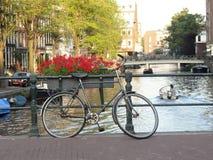 Sikt av Amsterdam kanal Arkivfoto