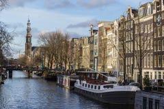 Sikt av Amsterdam kanaler Royaltyfria Foton
