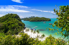 Sikt av Ang Thong National Marine Park, Thailand, Seascapebackgr Arkivfoto