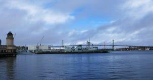 Sikt av Angus MacDonald Bridge i Halifax, Nova Scotia 4K arkivfilmer