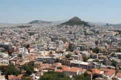 Sikt av Aten från akropolen Arkivfoton