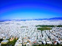 Sikt av Aten från den Lycabettus kullen Royaltyfria Bilder