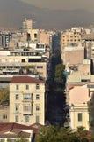 Sikt av Aten från kullen av akropolen Arkivfoto