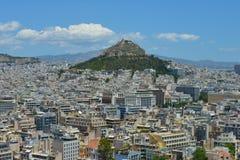 Sikt av Aten, Grekland Arkivfoto