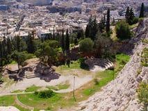 Sikt av Atenstaden från den Filopappou kullen Royaltyfri Bild