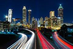 Sikt av Atlanta från Jackson Street Bridge Royaltyfri Foto