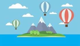 Sikt av ballonger som flyger över ön Arkivbild