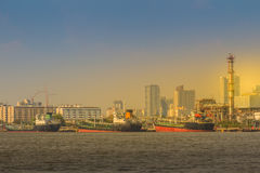 Sikt av Bangkok portmyndighet av Thailand eller Klong Toey portal royaltyfri bild