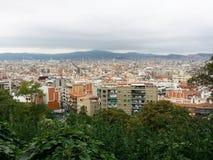 Sikt av Barcelona från Montjuic (Spanien) arkivbild
