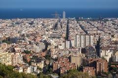 Sikt av Barcelona och Sagrada Familia Fotografering för Bildbyråer