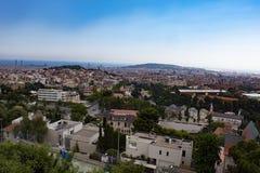 Sikt av Barcelona, Spanien från Mt Tibidabo arkivbilder