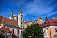 Sikt av basilikan av St Adalbert i Esztergom Arkivbilder