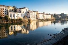 Sikt av Bassano del Grappa från en bro royaltyfria bilder