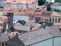 Sikt av Bellinzona från slott i Schweiz Royaltyfria Bilder