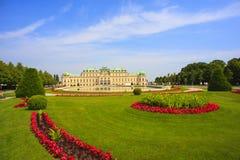 Sikt av belvederen, historisk byggnadkomplex i Wien, Aust royaltyfri foto
