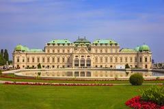 Sikt av belvederen, historisk byggnadkomplex i Wien, Aust arkivbild