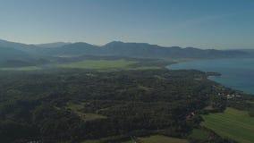 Sikt av berg- och havlandskapet Fotografering för Bildbyråer