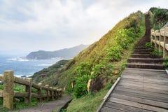 Sikt av berg och naturen på ostkusten av Taiwan Fotografering för Bildbyråer