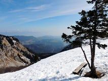 Sikt av berg på en solig dag från bänk arkivbilder