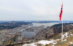 Sikt av Bergen, Norge Royaltyfria Bilder