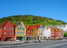 Sikt av Bergen, Norge under dagen Royaltyfri Foto