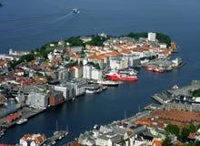 Sikt av Bergen uppifrån Royaltyfri Foto