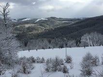 Sikt av berget i vinter Royaltyfria Foton