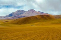 Sikt av berget och öknen i Salar de Uyuni Arkivbild