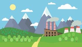 Sikt av berglandskapet med kullar och träd med snö på maxima och fabriken med att röka lampglas under blå himmel med c Royaltyfri Fotografi
