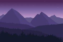 Sikt av berglandskapet med stjärnor Royaltyfri Bild