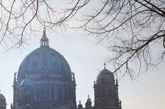 Sikt av Berlin Cathedral under vinter Arkivfoto