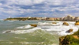 Sikt av Biarritz - Frankrike Fotografering för Bildbyråer