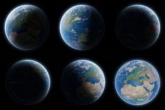 Sikt av blå planetjord i eleme för tolkning för utrymmesamling 3D Arkivbild