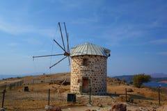 Sikt av Bodrum och den gamla väderkvarnen, Mugla, Turkiet arkivbilder