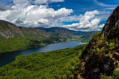 Sikt av Bohinj sjön i den Triglav nationalparken Slovenien Arkivfoton