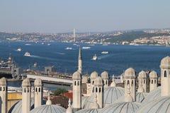Sikt av Bosphorusen i Istanbul Fotografering för Bildbyråer