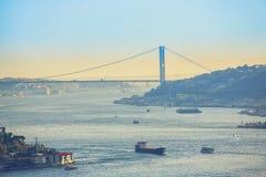 Sikt av Bosphorusen som tas från Otagtepe Royaltyfri Foto