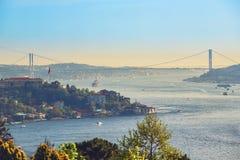 Sikt av Bosphorusen som tas från Otagtepe Fotografering för Bildbyråer