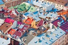 Sikt av bostadsområdet med hus och gator från över Arkivbilder