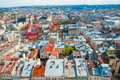 Sikt av bostadsområdet med hus och gator från över Royaltyfria Foton