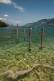 Sikt av Bourget sjön (fjällängar, savojkål, Frankrike) Arkivfoto