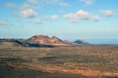 Sikt av brandberg, Lanzarote Arkivbild