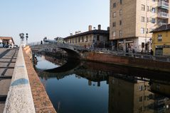Sikt av bron för ` s för Trezzano sulnaviglio Royaltyfri Fotografi