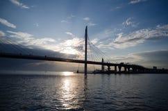 Sikt av bron på Neva River royaltyfria bilder
