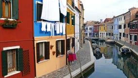Sikt av Burano, Italien 4 K lager videofilmer