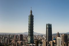 Sikt av byggnad för Taipei 101 internationell handelmitt Royaltyfri Foto