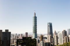 Sikt av byggnad för Taipei 101 internationell handelmitt Royaltyfri Fotografi