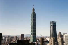 Sikt av byggnad för Taipei 101 internationell handelmitt Royaltyfria Foton